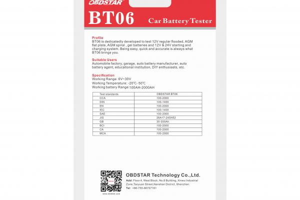 Тестер за акумулатори OBDSTAR BT06