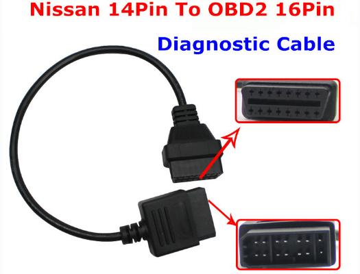 Преходник за NISSAN - 14 pin към 16 pin OBD II