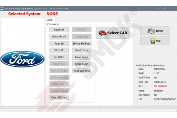 Ford change KM by OBD (FDP1), SMOK