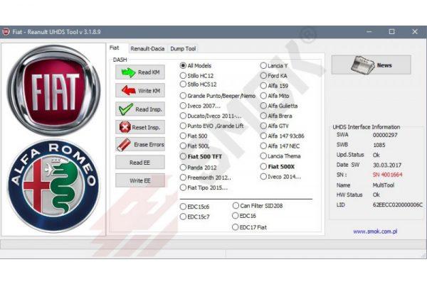 Fiat/Alfa/Lancia change KM by OBD (FTP1), SMOK
