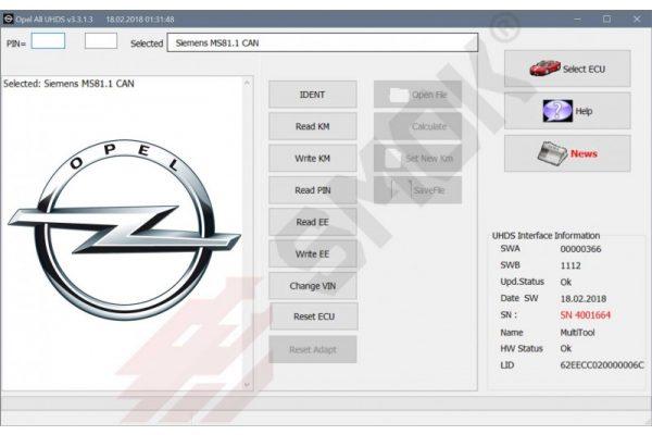 Opel All read PIN, change KM OBD (OLP1), SMOK