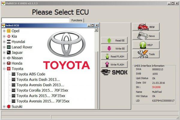 Toyota change KM OBD (TYP1), SMOK