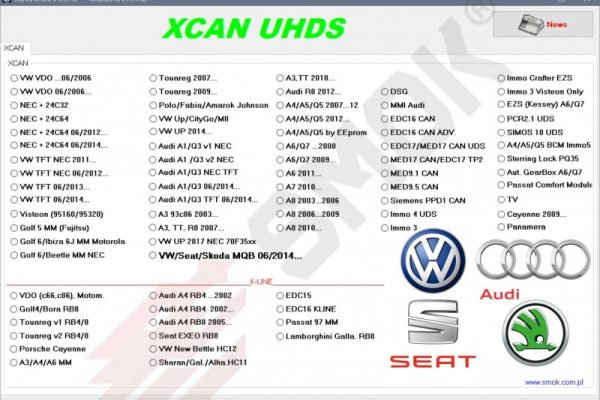 XCAN VW, Audi, Seat, Skoda CAN OBD (VWP1), SMOK