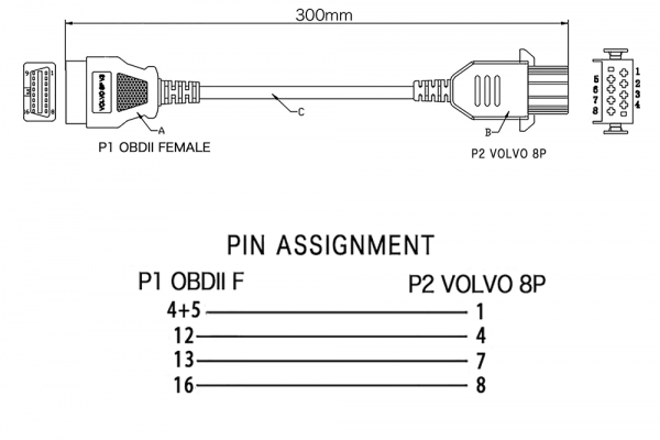 ПРЕХОДНИК за VOLVO - 8 PIN КЪМ OBD II - F 16 PIN