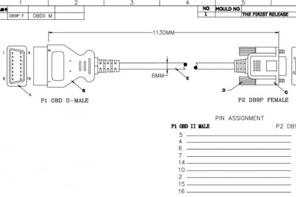 Кабел  RS232 - OBD2