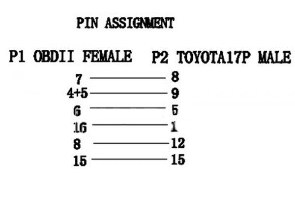 ПРЕХОДНИК ЗА TOYOTA - 17 PIN КЪМ 16 PIN OBD II